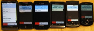GPS-ATD App running on various Android smartphones